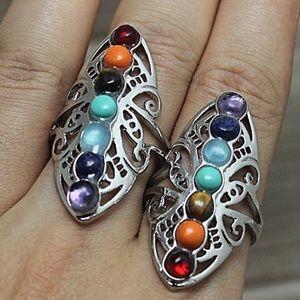 7 chakra reiki yoga rainbow silver adjustable ring